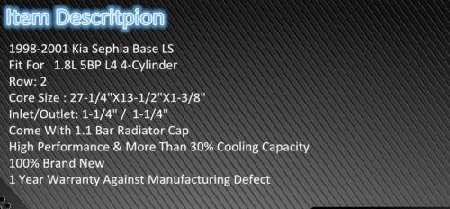 2Row Aluminum Radiator For 1998-2001 Kia Sephia LS 1.8L 5BP L4  1999 2000 Fans