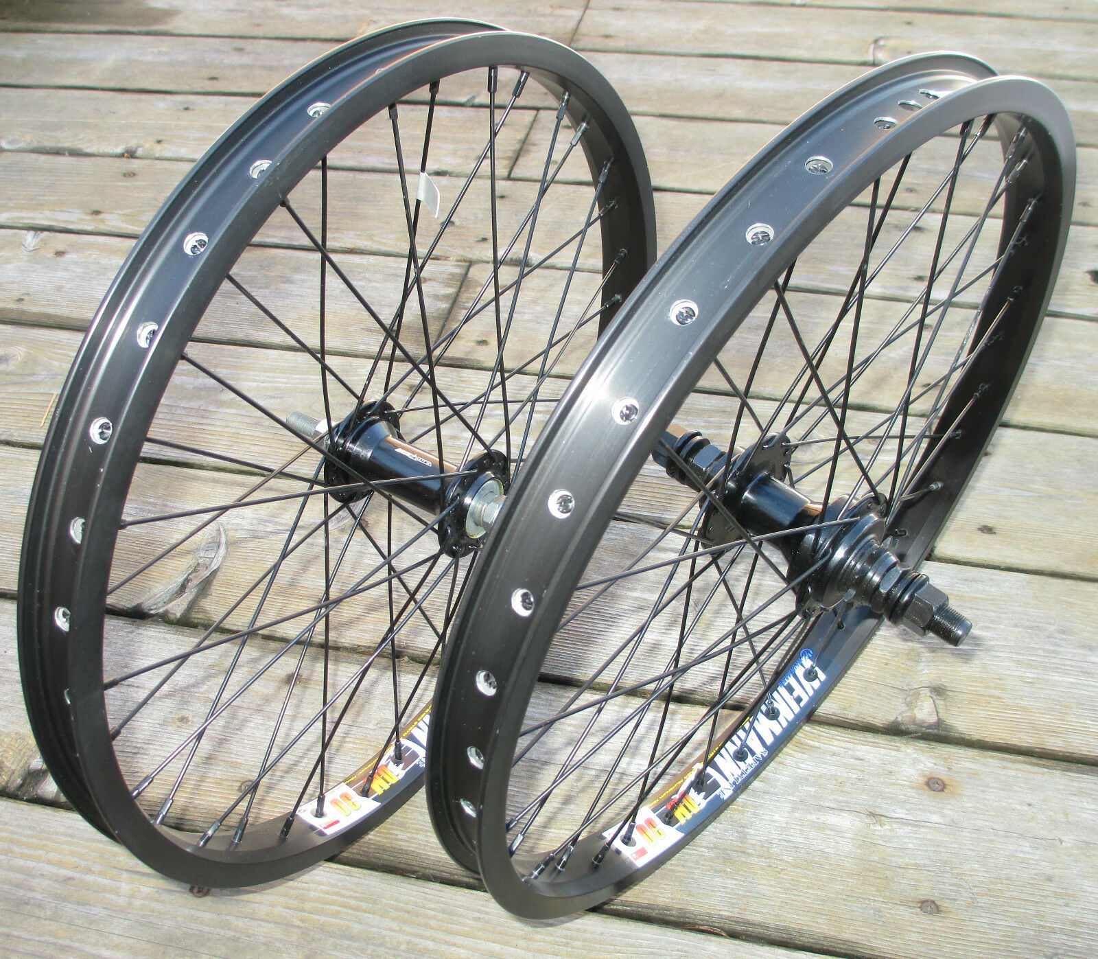 Wheel Set 20  BMX Park Front 3 8 & 9T 14mm 3 8 Slotted Rear Double Walled Rims