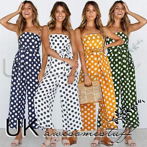UK-Womens-Polkadot-Wide-Leg-Jumpsuit-Ladies-Evening-Party-Playsuit-Size-6-16