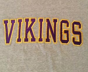 NFL-MINNESOTA-VIKINGS-FOOTBALL-LARGE-GRAY-EMBROIDERED-T-SHIRT-FREE-SHIPPING