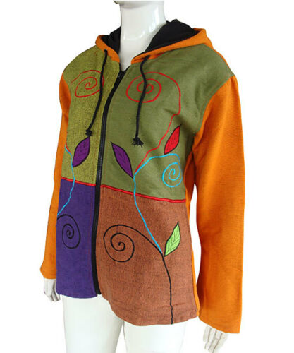 Womens Hooded Jacket Nepalese Stonewashed Hippie Fleece Lined Cotton Hoodie CJ08