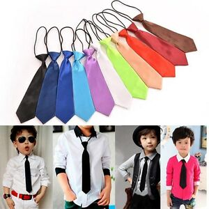 1 X Satin Elastic Neck Tie for Wedding Prom Boys Children School Kids Ties WL