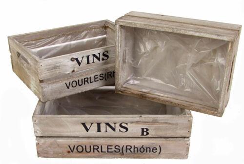 3er Set Deko Holzkisten VINS Weinkiste Blumentopf Wein Kiste Pflanzkübel