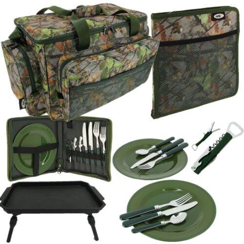 NGT Camouflage Fourre-tout Sac 600 Deluxe Pêche à La Carpe Set de couverts plastique hameçons Table