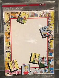 VTG-Blondie-Hagar-Dennis-The-Menace-Comic-Birthday-Party-Sign-In-Sheet-NOSWT-NIP