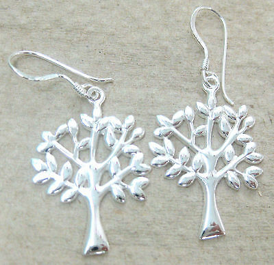 NEW 925 STERLING SILVER Plain Tree of Life Earrings & Pendant Women Teen Girl