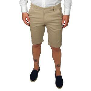 Bermuda-Uomo-Cotone-Beige-Pantaloncino-Pantaloni-Corti-Tasca-America-Slim-Shorts