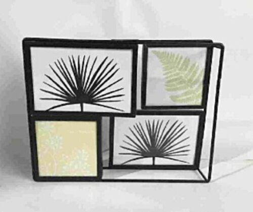 Bilderrahmen 3D Metallgestell schwarz zum Stellen und Hängen für 4 Bilder 28x21