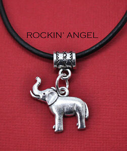 Antique Silver Plt African Elephant Pendant Necklace Ladies Mens Gift Animal