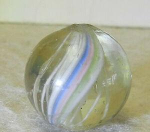 7646m Vintage German Handmade White Latticino Swirl Marble .66 Inches