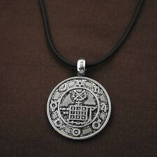 Norse Viking Round Wicca Amulet Pewter Pendant Leather Pagan Necklace