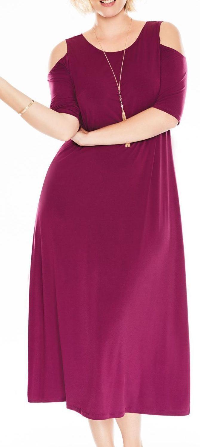 WOMAN WITHIN Women's COLD SHOULDER 05-0430-8 Dark Sapphire MAXI DRESS - 3X