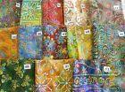 Unique Embroidered jewel tone Batik fabric 100% cotton 1/2 yd x 44
