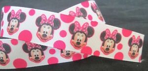 Minnie-Mouse-Pink-7-8-Inch-Grossgrain-Ribbon-One-Metre-Cake-Trim-Craft