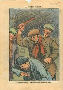 """Caricature Communiste Sartrouville Ouvriers Front Populaire 1937 ILLUSTRATION - France - Commentaires du vendeur : """"OCCASION"""" - France"""