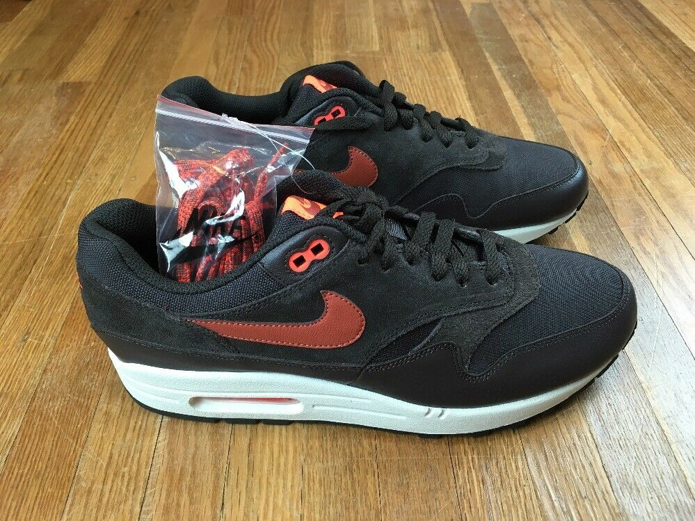Nike air max 1 premium samt Braun dusty pfirsich - mens schuhe sz zehn retro - blase