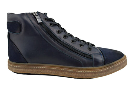 $230 OVATTO Blue Calf Leather Ankle Boots Sneakers Men Shoes NEW COLLECTION