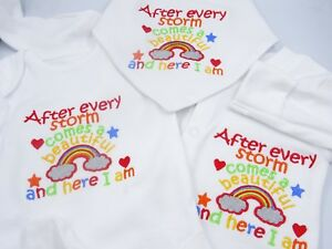 Obligeant Personalised Embroidered After Every Storm Comes A Rainbow Unisexe Bébé Clothing-afficher Le Titre D'origine