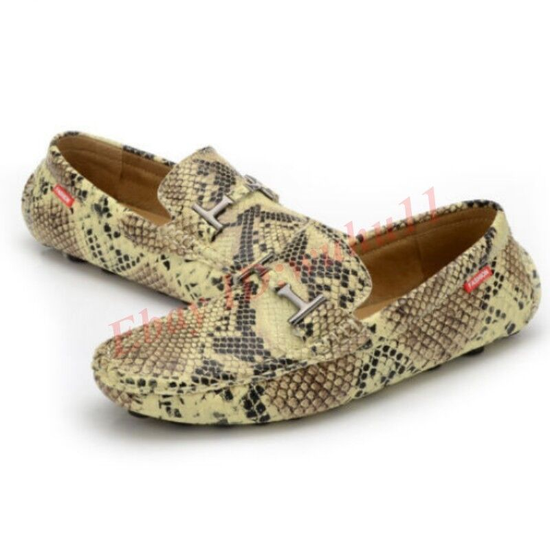 Mens Snakeskin Slip On Moccasin-Gommino Loafers Leisure Driving Breathable shoes