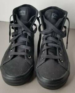 Black Canvas High Top Keds Shoes Size 6