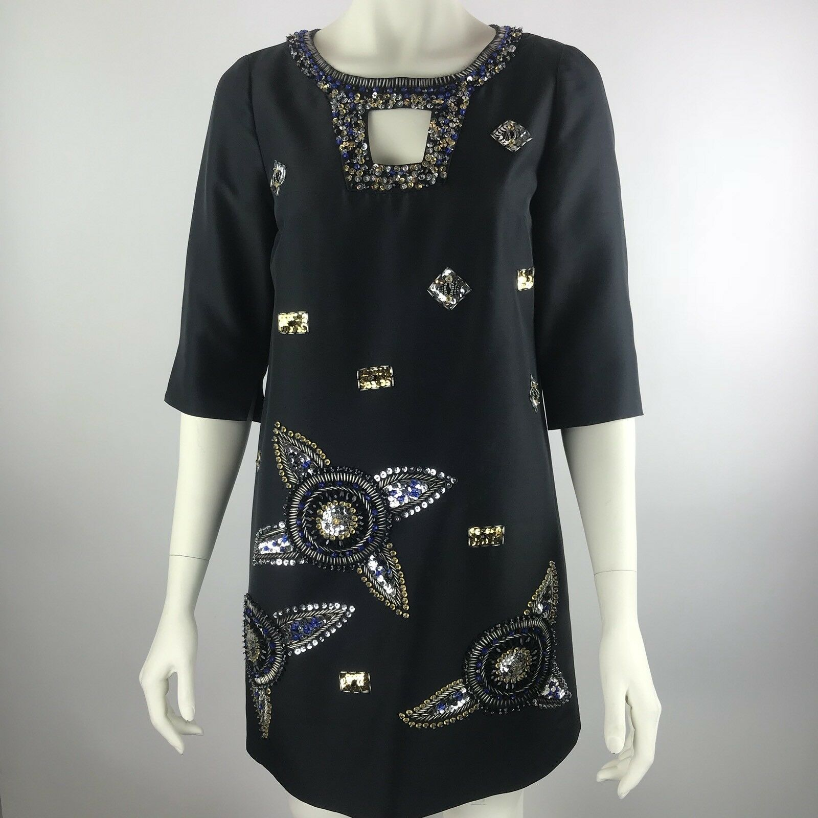 TIBI NEW YORK schwarz Rhinestone Sequin Keyhole Neck Short Sleeve Silk Dress 6