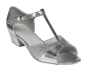 SILVER PU & SPARKLING SILVER GLITTER BALLROOM SHOES (JUNIOR10 - ADULT 5)