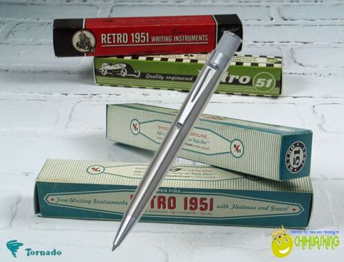 RETRO 51 STAINLESS STEEL CLASSIC TORNADO ROLLERBALL CONVERTIBLE TO BALLPOINT PEN