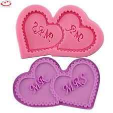 Double Love Heart MR & MRS Silicone Fondant Mold Wedding Cake Decoration Tool