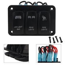3 Gang Rocker Switch Panel Led Light Barrear Lightrock Light 12v24v Universal