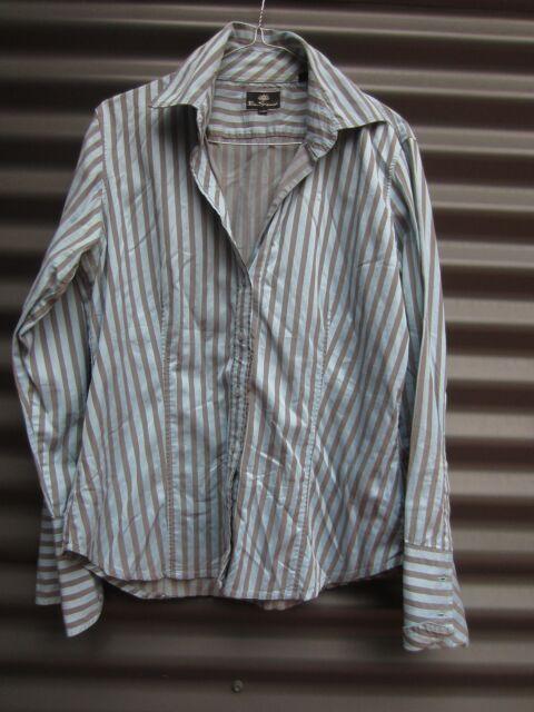 Ben Sherman Women's Aqua And Grey Stripe Long Sleeve Shirt Size XL
