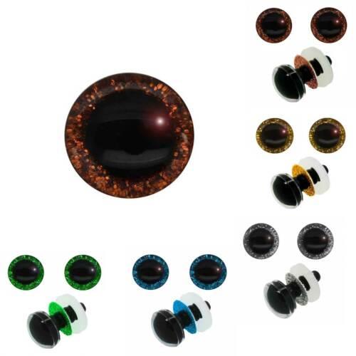 5 Paar Glitzer-Augen Kunststoffauge 12mm Sicherheitsaugen Kuscheltiere Farbwahl