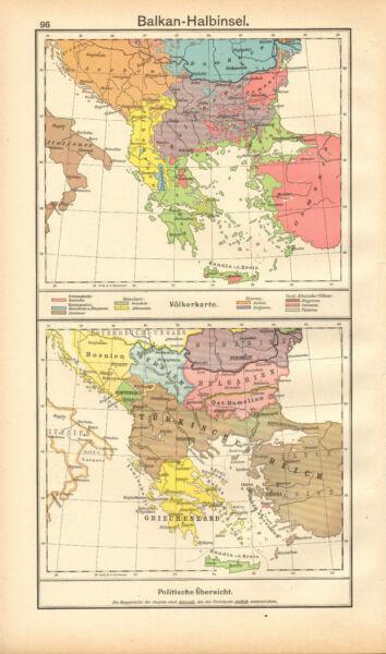 100% QualitäT 1908 Landkarte~balkan Halbinsel~politische Übersicht Einen Effekt In Richtung Klare Sicht Erzeugen