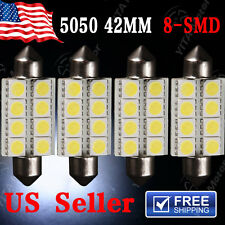 4X 6000K White 42MM 5050 8SMD Festoon Dome Map Interior LED Light bulb 212-2 569