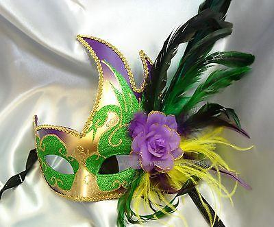 Ostrich feather Side flower Glitter Swan Venetian Masquerade Eye Mask Costume