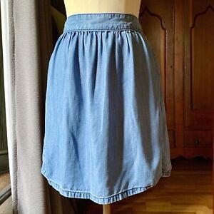 MADEWELL Chambray Denim Lyocell Mini Skirt SIZE 0