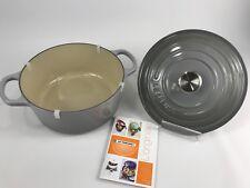 Le Creuset France Round 3.5 Quart Dutch Oven Cast Iron Mist Gray NWOB Lid 22cm