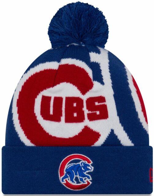 Chicago Cubs Logo Whiz 3 Pom Knit Hat  9429dad2e93
