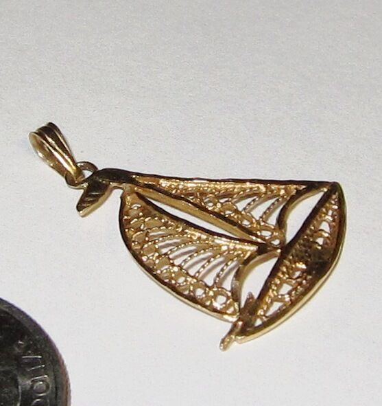 14K yellow gold Charm Pendant Filigree SAILBOAT boating sailing nautical sailor