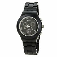 New Swatch Irony Full Blooded Smoky Black Chrono Date Watch 43mm SVCF4000AG $160