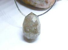 RARE GENUINE FACETED NATURAL AFRICAN MOON GRAY DIAMOND BRIOLETTE BEAD 1ct