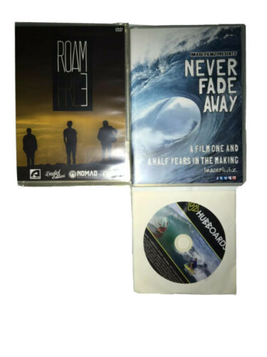Details about  /Lot of 3 Bodyboarding DVDs Roam Fre3 Free Never Fade Away Hubboards Movie Vids