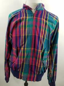 VTG-Polo-Ralph-Lauren-Mens-L-Multicolor-Plaid-Harrington-Bomber-Jacket-Zip-Up
