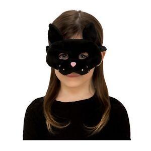 Childs Boys Girls Plush Furry Animal Black Cat Kitten Halloween Costume Eye Mask
