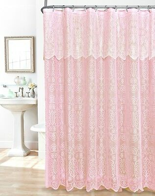 Lovely White Pink Floral Lace Scalloped Valance Shower Curtain W Rings