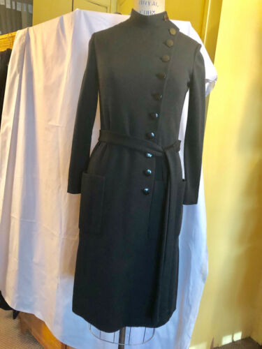 Norman Norell Black Wool Jersey Dress- early 70's