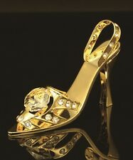 AUTHENTIC SWAROVSKI CRYSTAL ELEMENT HIGH HEEL FIGURINE/ORNAMENT 24K GOLD PLATED