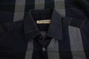 Burberry-London-Blue-Gray-Black-Plaid-RECENT-Button-Up-Shirt-Sz-XS