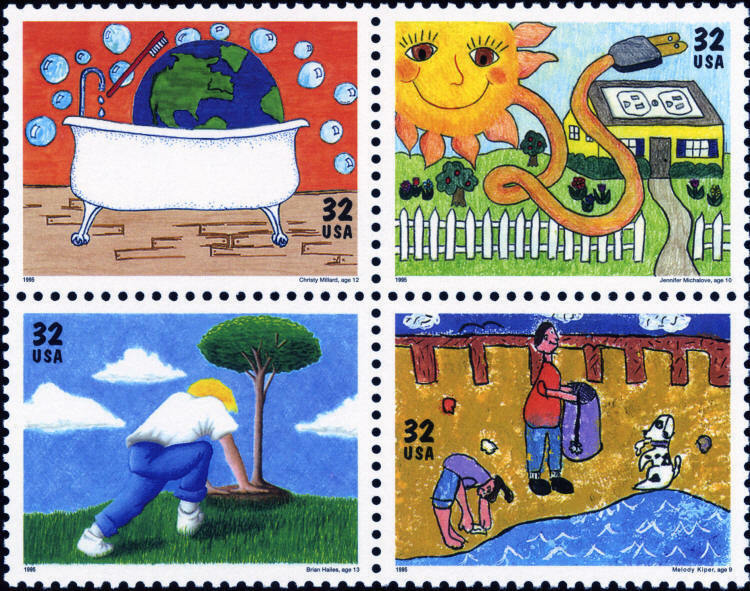 1995 32c Earth Day/Kids Care, Block of 4 Scott 2951-54