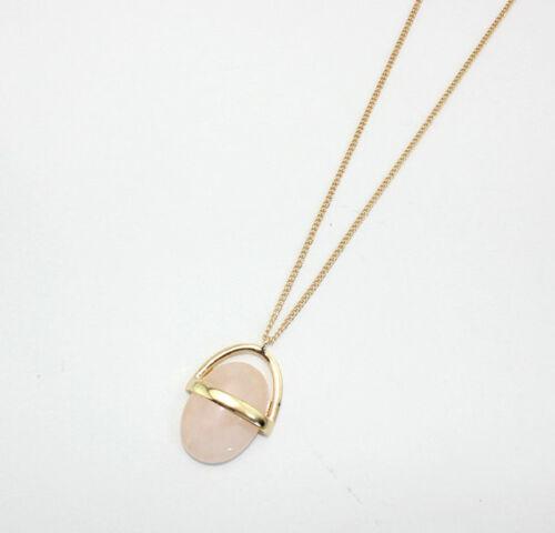 Mode plaqué or ovale Quartz Rose Pendentif Bib Collier 1142