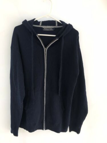 WOOLOVERS NAVY BLUE FINE KNIT FILL ZIP JUMPER HOODIE SZ XL